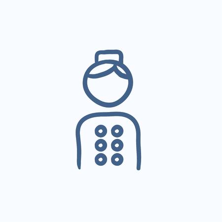 Bellboy Vektor Skizze Symbol auf Hintergrund isoliert. Hand Bellboy Symbol gezeichnet. Bellboy Skizze Symbol für Infografik, die Website oder App.