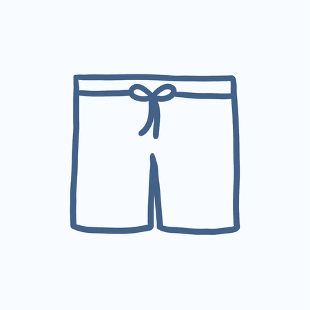 swimming costume: Swimming trunks vector sketch icon isolated on background. Hand drawn Swimming trunks icon. Swimming trunks sketch icon for infographic, website or app.