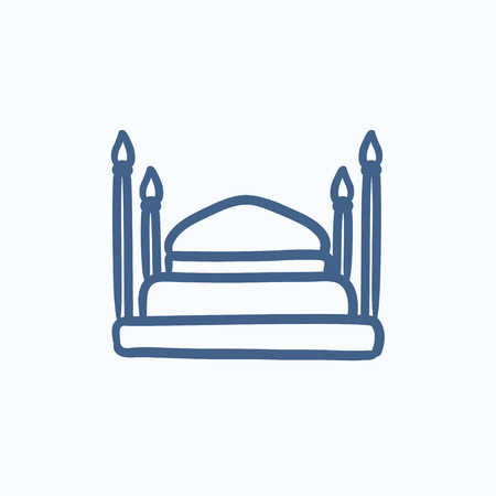 taj: Taj Mahal vector sketch icon isolated on background. Hand drawn Taj Mahal icon. Taj Mahal sketch icon for infographic, website or app. Illustration