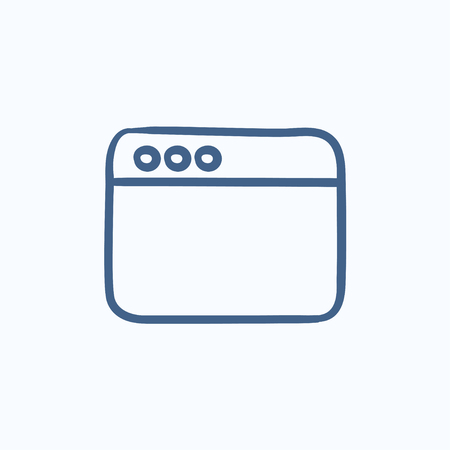 website window: Blank window of internet browser vector sketch icon isolated on background. Hand drawn Blank window of internet browser icon. Window of internet browser sketch icon for infographic, website or app.
