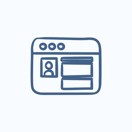 website window: Browser window with social network internet page vector sketch icon isolated on background. Hand drawn Browser window icon. Browser window sketch icon for infographic, website or app.