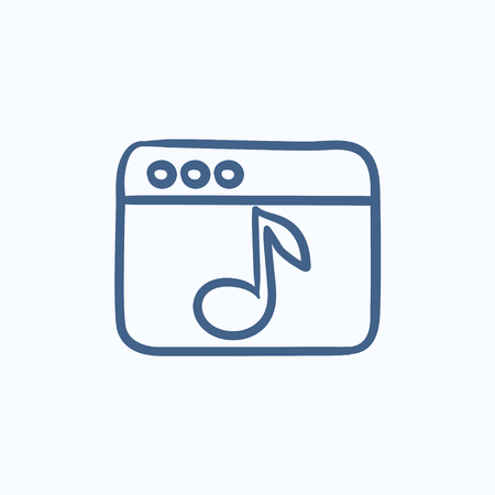 website window: Browser window with music note vector sketch icon isolated on background. Hand drawn Browser window with music note icon. Browser window with music note sketch icon for infographic, website or app.