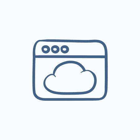 Browser window with cloud vector sketch icon isolated on background. Hand drawn Browser window with cloud icon. Browser window with cloud sketch icon for infographic, website or app. Illustration