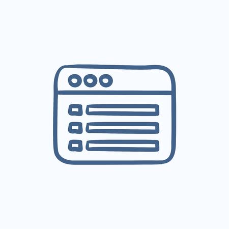 ventana del navegador con el icono de boceto contenido de la carpeta del vector aislado en el fondo. Mano ventana del navegador dibujado con el icono del contenido de la carpeta. dibujo icono de la ventana del navegador para la infografía, sitio web o aplicación.