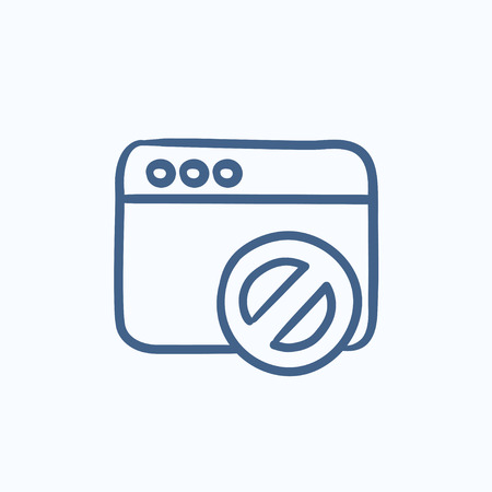 Browser window with no sign vector sketch icon isolated on background. Hand drawn Browser window with no sign icon. Browser window with no sign sketch icon for infographic, website or app. Illusztráció