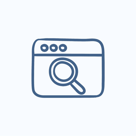 icons site search: Browser window with magnifying glass vector sketch icon isolated on background. Hand drawn Browser window with magnifying glass icon. Browser window sketch icon for infographic, website or app.