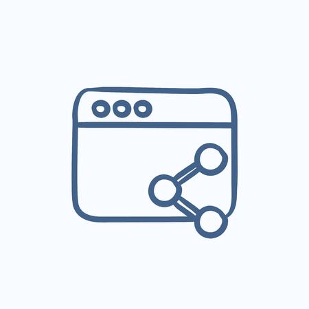 共有シンボル ベクトル スケッチ アイコンの背景に分離した状態でブラウザ ウィンドウ。手には、共有シンボル アイコンをブラウザーのウィンドウが描画されます。ブラウザー ウィンドウは、インフォ グラフィック、web サイトまたはアプリケーションのアイコンをスケッチします。 写真素材 - 58182418