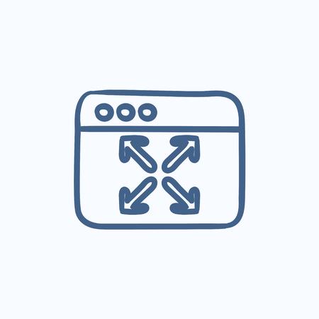 Full screen vector schets pictogram op een achtergrond. Hand getrokken pictogram Volledig scherm. Volledig scherm schets pictogram voor infographic, website of app.