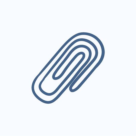 attach: Adjuntar símbolo de dibujo icono del vector aislado en el fondo. Dibujado a mano Adjuntar símbolo de icono. Adjuntar dibujo icono de símbolo para la infografía, sitio web o aplicación.