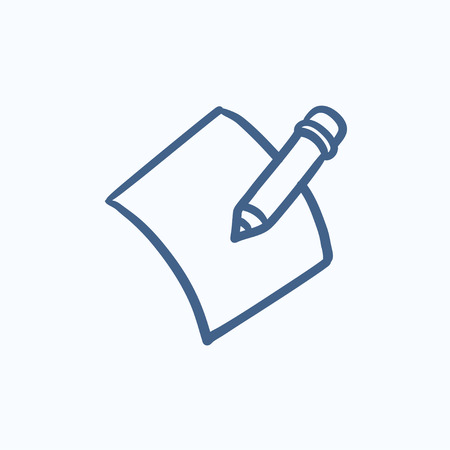 Pencil and document vector sketch icon isolated on background. Hand drawn Pencil and document icon. Pencil and document sketch icon for infographic, website or app. Çizim