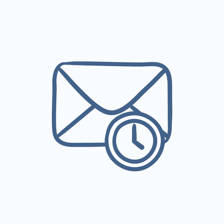 Envelope mail with clock vector sketch icon isolated on background. Hand drawn Envelope mail with clock icon. Envelope mail with clock sketch icon for infographic, website or app. Illustration