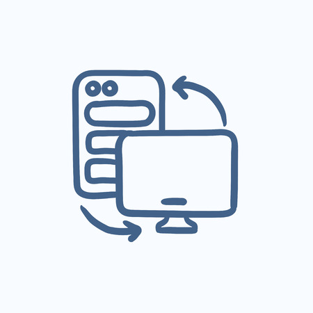 cpu: Personal computer set vector sketch icon isolated on background. Hand drawn Personal computer set icon. Personal computer set sketch icon for infographic, website or app.