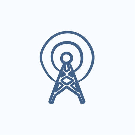 Antenna vector sketch icon isolated on background. Hand drawn Antenna icon. Antenna sketch icon for infographic, website or app. Illustration