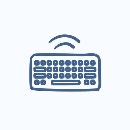 wireless icon: Wireless keyboard vector sketch icon isolated on background. Hand drawn Wireless keyboard icon. Wireless keyboard sketch icon for infographic, website or app.