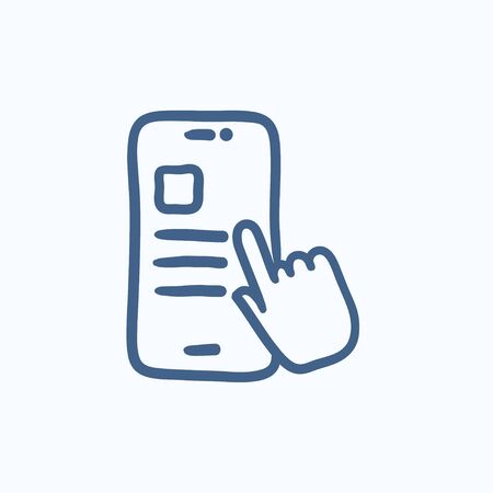 smartphone hand: Finger touching smartphone vector sketch icon isolated on background. Hand drawn Finger touching smartphone icon. Finger touching smartphone sketch icon for infographic, website or app. Illustration