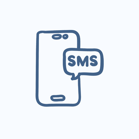 smartphone hand: Smartphone with message vector sketch icon isolated on background. Hand drawn Smartphone with message icon. Smartphone with message sketch icon for infographic, website or app.