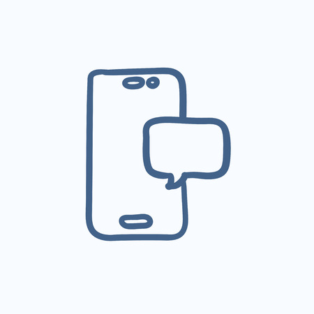 touch screen hand: Touch screen phone with message vector sketch icon isolated on background. Hand drawn Touch screen phone with message icon. Touch screen phone with message sketch icon for infographic, website or app.