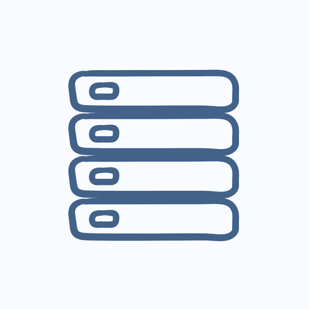 storage device: Computer server vector sketch icon isolated on background. Hand drawn Computer server icon. Computer server sketch icon for infographic, website or app.