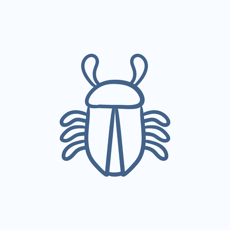 computer bug: Computer bug vector sketch icon isolated on background. Hand drawn Computer bug icon. Computer bug sketch icon for infographic, website or app.