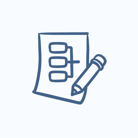 hardware configuration: Paper sheet with system parts vector sketch icon isolated on background. Hand drawn Paper sheet with system parts icon. Paper sheet with system parts sketch icon for infographic, website or app.