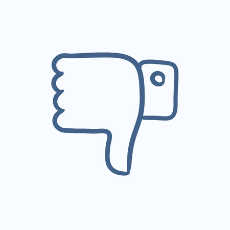 disapprove: Thumbs down vector sketch icon isolated on background. Hand drawn Thumbs down icon. Thumbs down sketch icon for infographic, website or app.