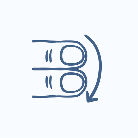 swipe: Swipe down with two fingers vector sketch icon isolated on background. Hand drawn touch screen gesture down icon. Touch screen gesture down sketch icon for infographic, website or app.