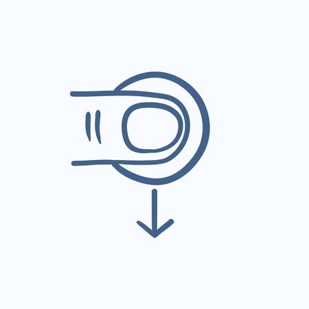drag: Drag down touch screen gesture vector sketch icon isolated on background. Hand drawn drag down touch screen gesture icon. Drag down touch screen gesture sketch icon for infographic, website or app. Illustration