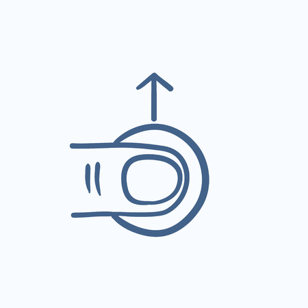 touch screen hand: Drag up touch screen gesture vector sketch icon isolated on background. Hand drawn drag up touch screen gesture icon. Drag up touch screen gesture sketch icon for infographic, website or app. Illustration
