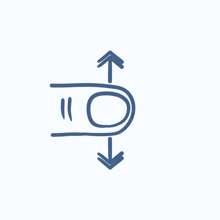touch: Scroll touch screen gesture vector sketch icon isolated on background. Hand drawn Scroll touch screen gesture icon. Scroll touch screen gesture sketch icon for infographic, website or app.