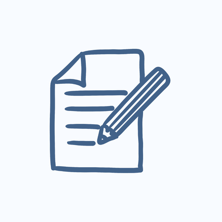taking notes: Taking note vector sketch icon isolated on background. Hand drawn Taking note icon. Taking note sketch icon for infographic, website or app. Illustration