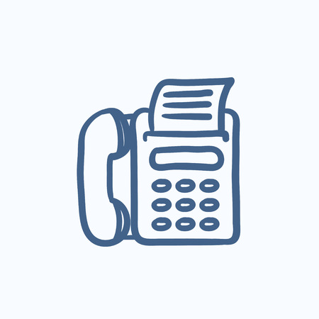 fax machine: Fax machine vector sketch icon isolated on background. Hand drawn Fax machine icon. Fax machine sketch icon for infographic, website or app.