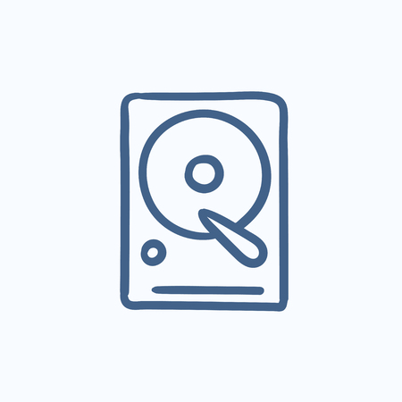 storage device: Hard disk vector sketch icon isolated on background. Hand drawn Hard disk icon. Hard disk sketch icon for infographic, website or app.