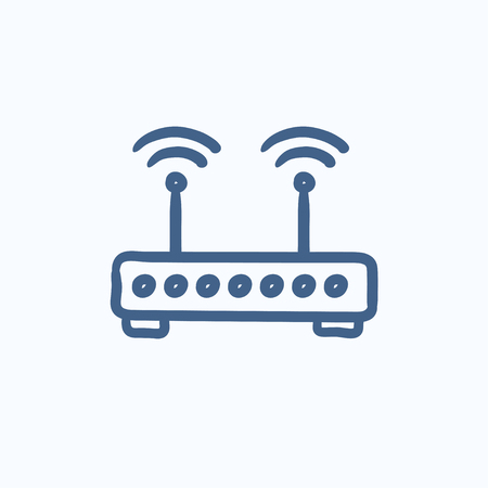 wireless icon: Wireless router vector sketch icon isolated on background. Hand drawn Wireless router icon. Wireless router sketch icon for infographic, website or app. Illustration
