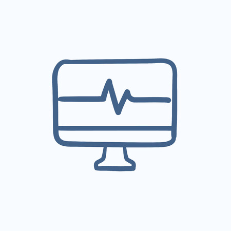 lcd display: Heart beat monitor vector sketch icon isolated on background. Hand drawn Heart beat monitor icon. Heart beat monitor sketch icon for infographic, website or app.