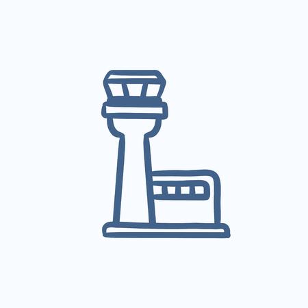 Vlucht verkeerstoren vector schets pictogram op een achtergrond. Hand getrokken Flight verkeerstoren icoon. Vlucht verkeerstoren schets pictogram voor infographic, website of app.