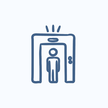 drawn metal: Man going through metal detector gate vector sketch icon isolated on background. Hand drawn Man and metal detector gate icon. Man and metal detector gate sketch icon for infographic, website or app.