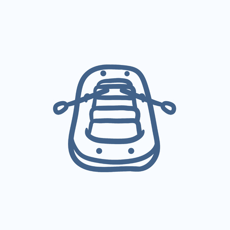 inflatable boat: Inflatable boat vector sketch icon isolated on background. Hand drawn Inflatable boat icon. Inflatable boat sketch icon for infographic, website or app.