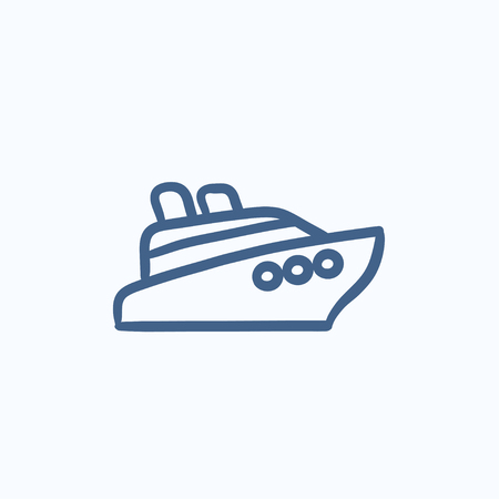 hull: Cruise ship vector sketch icon isolated on background. Hand drawn Cruise ship icon. Cruise ship sketch icon for infographic, website or app. Illustration