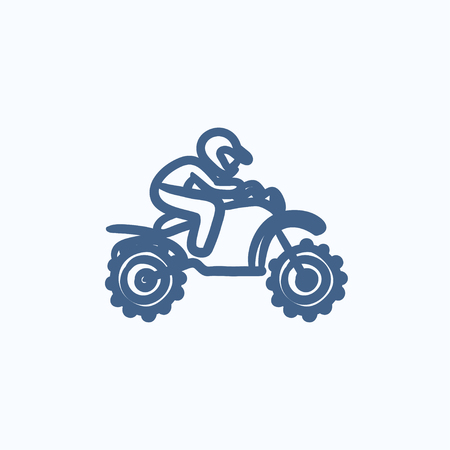 cycle suit: Man riding motocross bike vector sketch icon isolated on background. Hand drawn Man riding motocross bike icon. Man riding motocross bike sketch icon for infographic, website or app. Illustration