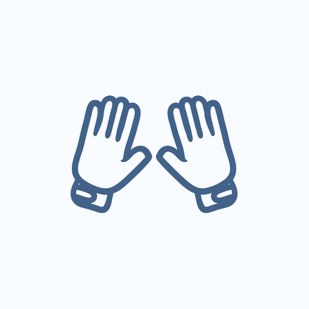 Motorcycle gloves vector sketch icon isolated on background. Hand drawn Motorcycle gloves icon. Motorcycle gloves sketch icon for infographic, website or app. 向量圖像
