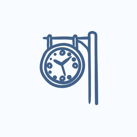 Train station clock vector sketch icon isolated on background. Hand drawn Train station clock icon. Train station clock sketch icon for infographic, website or app. 일러스트