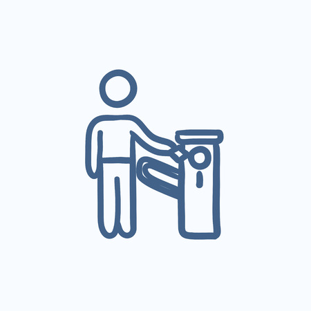 occlusion: Man at car barrier vector sketch icon isolated on background. Hand drawn Man at car barrier icon. Man at car barrier sketch icon for infographic, website or app. Illustration