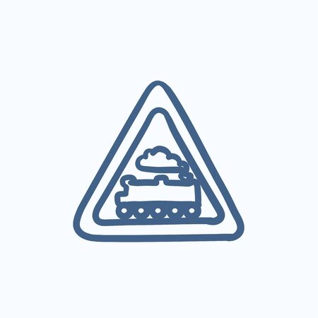 railtrack: Train sign vector sketch icon isolated on background. Hand drawn Train sign icon. Train sign sketch icon for infographic, website or app. Illustration