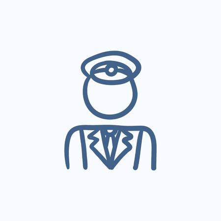 railway transportation: Conductor vector sketch icon isolated on background. Hand drawn Conductor icon. Conductor sketch icon for infographic, website or app. Illustration