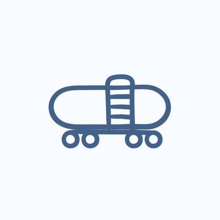 cisterna: Railway cistern vector sketch icon isolated on background. Hand drawn Railway cistern icon. Railway cistern sketch icon for infographic, website or app. Vectores