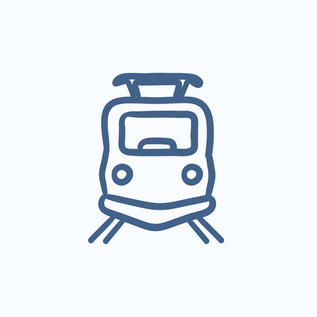 hand rails: Front view of train vector sketch icon isolated on background. Hand drawn Front view of train icon. Front view of train sketch icon for infographic, website or app.