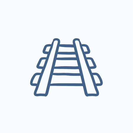 hand rails: Railway track vector sketch icon isolated on background. Hand drawn Railway track icon. Railway track sketch icon for infographic, website or app. Illustration