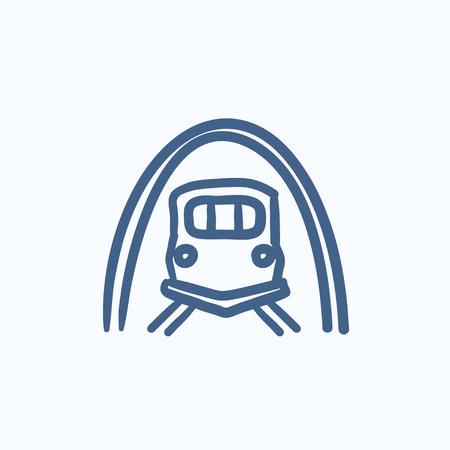 thoroughfare: Railway tunnel vector sketch icon isolated on background. Hand drawn Railway tunnel icon. Railway tunnel sketch icon for infographic, website or app.