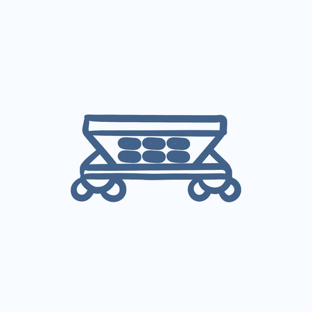 hauling: Cargo wagon vector sketch icon isolated on background. Hand drawn Cargo wagon icon. Cargo wagon sketch icon for infographic, website or app.
