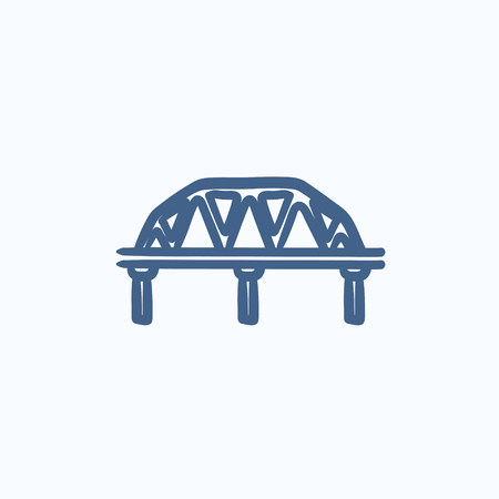 traffic pylon: Rail way bridge vector sketch icon isolated on background. Hand drawn Rail way bridge icon. Rail way bridge sketch icon for infographic, website or app. Illustration